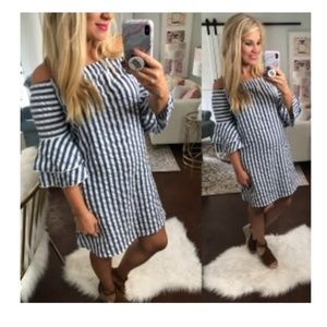 Blue and white striped CES FEMME off shoulder dres